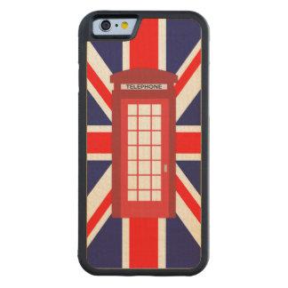 British phone box Union Jack flag Maple iPhone 6 Bumper Case