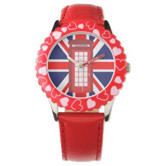 British phone box Union Jack flag Wrist Watch