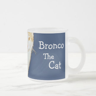Bronco The Cat Frosted Glass Mug