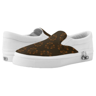 Brown abstract pattern printed shoes