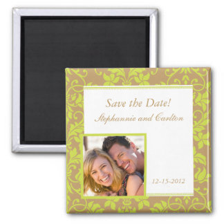 Brown and Lime Green Damask Announcement Magnet