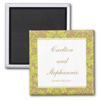 Brown and Lime Green Damask Wedding Magnet Favor