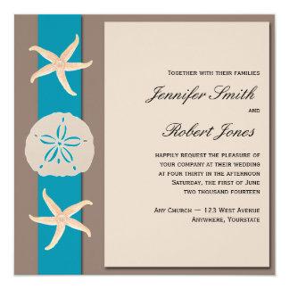 Brown and Turquoise Starfish Wedding Invitation