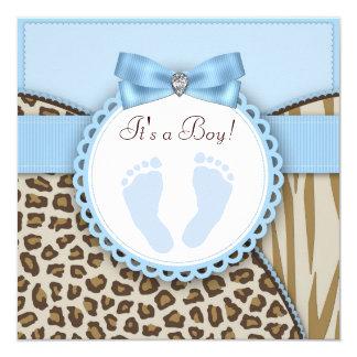 Brown Blue Footprint Baby Shower 13 Cm X 13 Cm Square Invitation Card