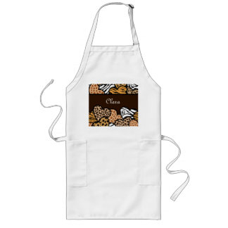 Brown Girly animal print hearts with a name Long Apron