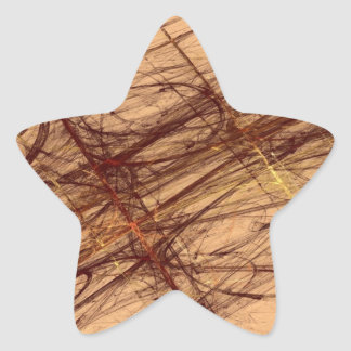 Brown Grunge Abstract Fractal Star Sticker