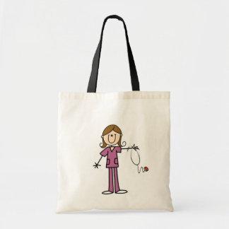 Brown Hair Female Stick Figure Nurse Budget Tote Bag