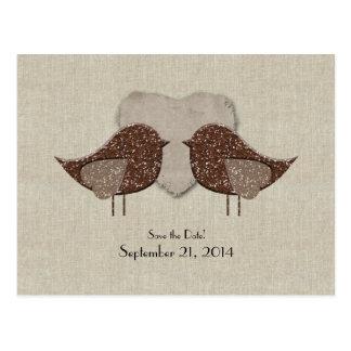 Brown Lovebirds Linen Look Save the Date Postcard