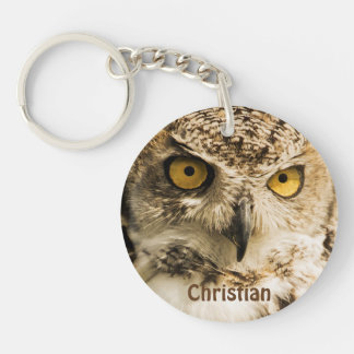 Brown owl with yellow eyes add name Single-Sided round acrylic key ring