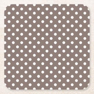 Brown Polka Dots Square Paper Coaster