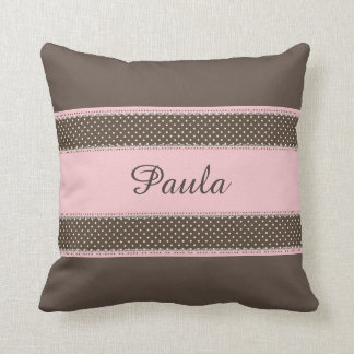 Brown with Pink Personalised Throw Pillow Cushions