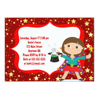 Brunette Girl Magician Birthday Party Invitation
