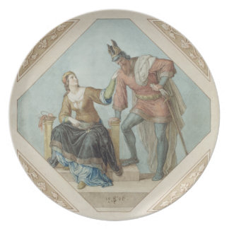 Brunhilde and Hagen, illustration for 'The Niebelu Plate