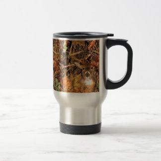 Buck in Fall Camo White Tail Deer Stainless Steel Travel Mug