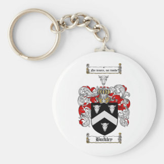 BUCKLEY FAMILY CREST -  BUCKLEY COAT OF ARMS BASIC ROUND BUTTON KEY RING
