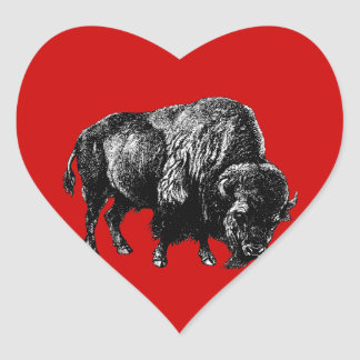 Buffalo American Bison Vintage Wood Engraving Heart Sticker