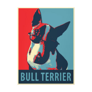 Bull Terrier Political Parody Stretched Canvas Print