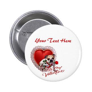 Bulldog Maddie Red Rose Valentine Design 6 Cm Round Badge