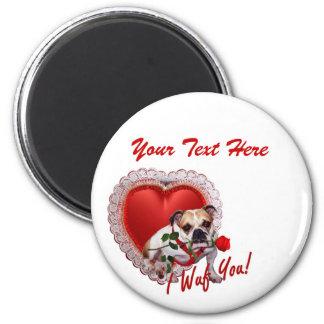 Bulldog Maddie Red Rose Valentine Design 6 Cm Round Magnet