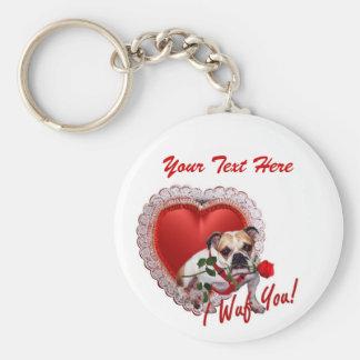 Bulldog Maddie Red Rose Valentine Design Basic Round Button Key Ring