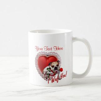 Bulldog Maddie Red Rose Valentine Design Basic White Mug