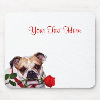 Bulldog Maddie Red Rose Valentine Design Mouse Pad