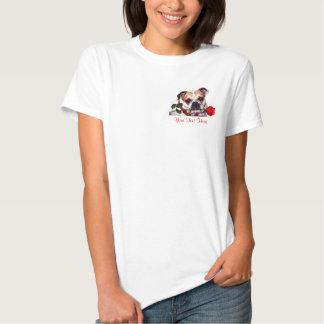 Bulldog Maddie Red Rose Valentine Design Tee Shirt