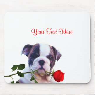 Bulldog Puppy Red Rose Valentine Design Mouse Pad