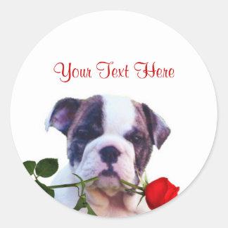 Bulldog Puppy Red Rose Valentine Design Round Sticker