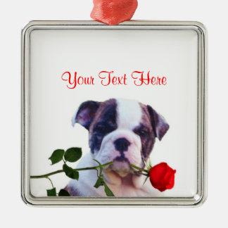 Bulldog Puppy Red Rose Valentine Design Silver-Colored Square Decoration