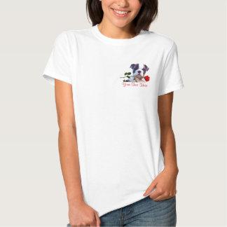 Bulldog Puppy Red Rose Valentine Design T-shirts