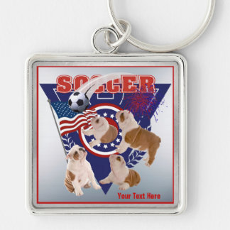 Bulldog Puppy US Flag Soccer Design – Customize It Silver-Colored Square Key Ring