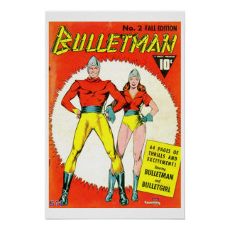 Bulletman Vintage Comic Book Cover Poster