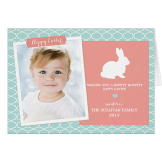 Bunny on Morrocan Pattern Happy Easter Card