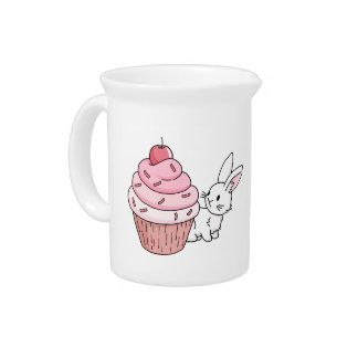 Bunny with a pink cupcake beverage pitcher