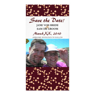 Burgundy and Cream Cherry Blossoms Save The Date Picture Card