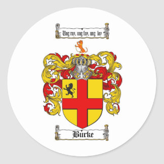 BURKE FAMILY CREST -  BURKE COAT OF ARMS ROUND STICKER