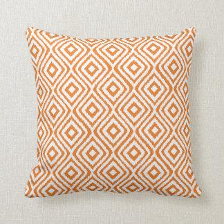 Burnt Orange Tribal Ikat Diamond Pattern Cushion