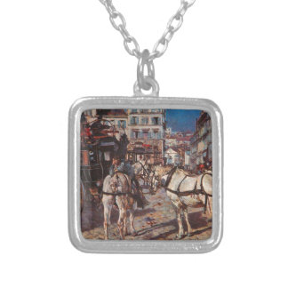 Bus on the Pigalle Place in Paris by Giovanni Bold Square Pendant Necklace