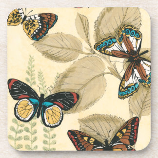 Butterflies Gliding Over Leaves Coasters