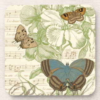 Butterflies on Sheet Music with Floral Design Drink Coasters