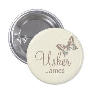 Butterflies Usher named cream wedding pin / button