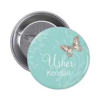 Butterflies Usher teal wedding pin / button