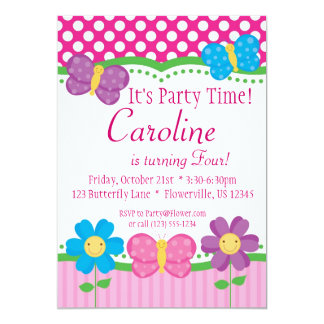 Butterfly and Flowers Birthday Party Invitation