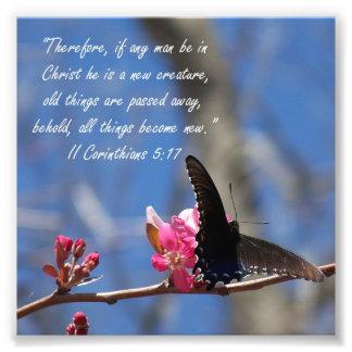Butterfly Baptism 2 Corinthians 5:17 Verse Print Photo Print