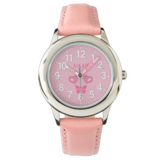 Butterfly & Hearts Personalized Watches for Girls
