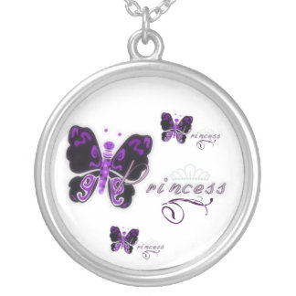 Butterfly Princess Round Pendant Necklace