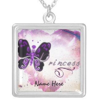 Butterfly Princess Square Pendant Necklace