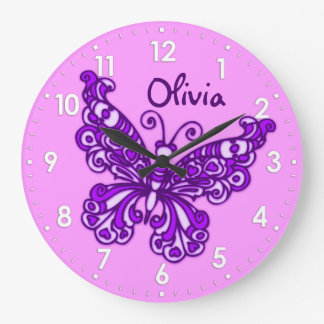 Butterfly purple girls room name wall clock