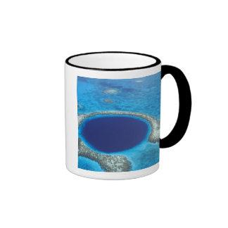 CA, Belize. Aerial view of Blue Hole (diameter Ringer Mug